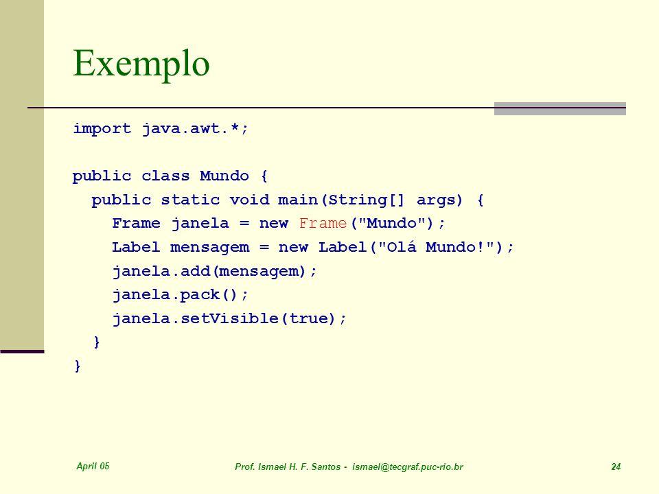Exemplo import java.awt.*; public class Mundo {