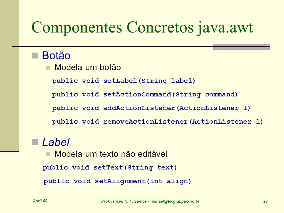 Componentes Concretos java.awt