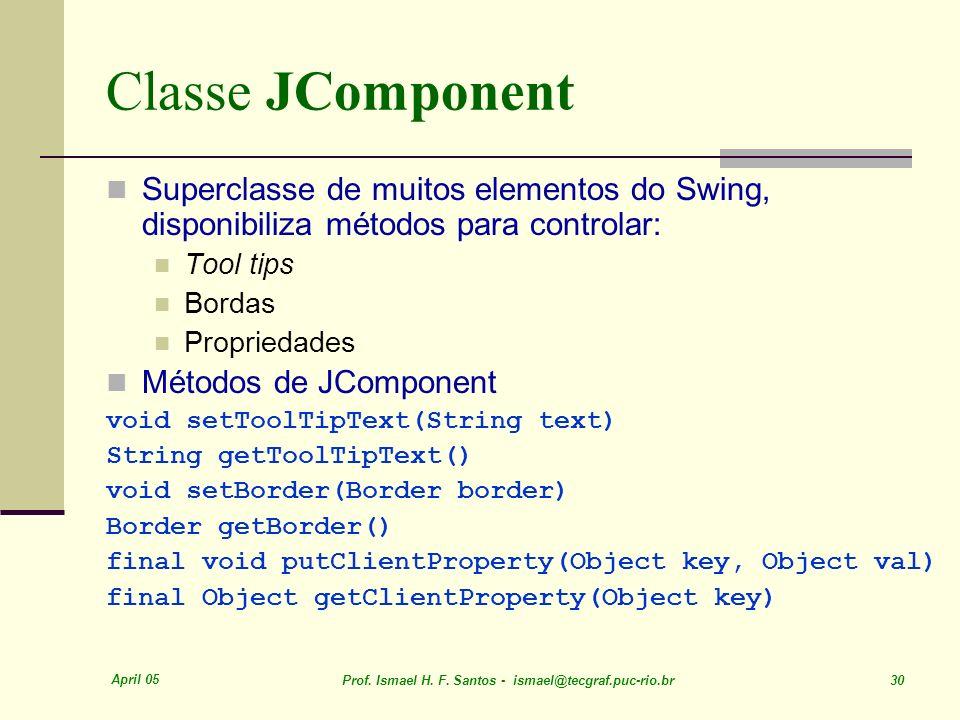 Classe JComponent Superclasse de muitos elementos do Swing, disponibiliza métodos para controlar: Tool tips.
