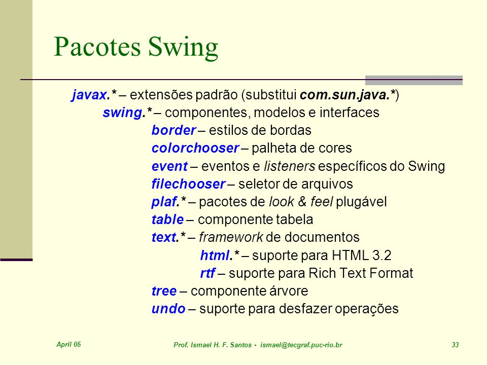 Pacotes Swing javax.* – extensões padrão (substitui com.sun.java.*)