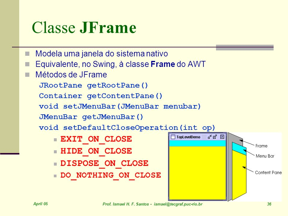 Classe JFrame EXIT_ON_CLOSE HIDE_ON_CLOSE DISPOSE_ON_CLOSE