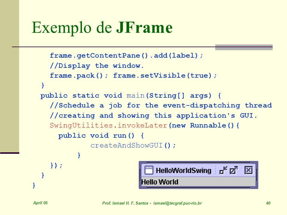 Exemplo de JFrame frame.getContentPane().add(label);