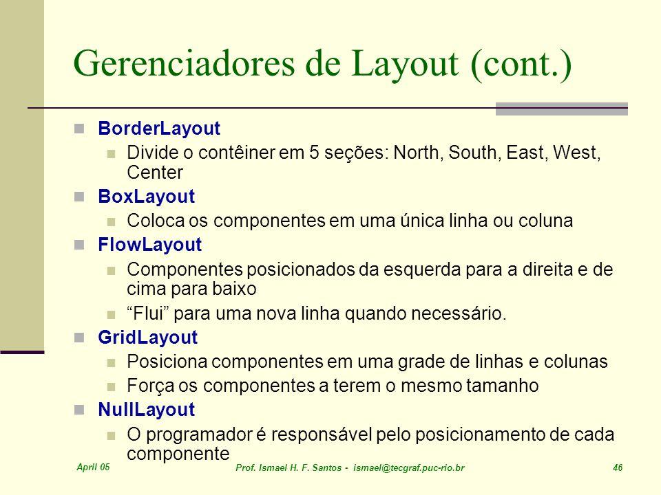 Gerenciadores de Layout (cont.)