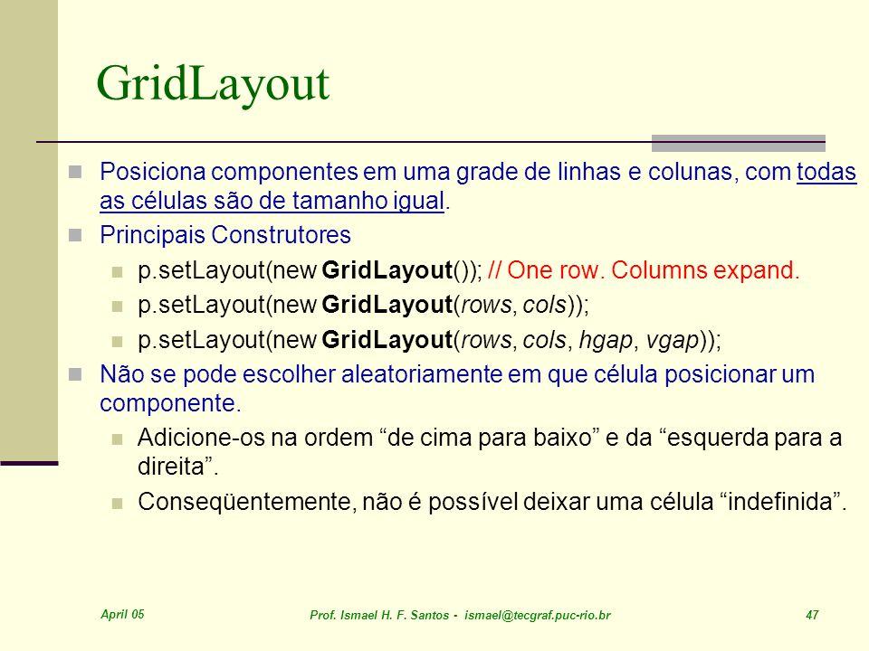 GridLayout Posiciona componentes em uma grade de linhas e colunas, com todas as células são de tamanho igual.