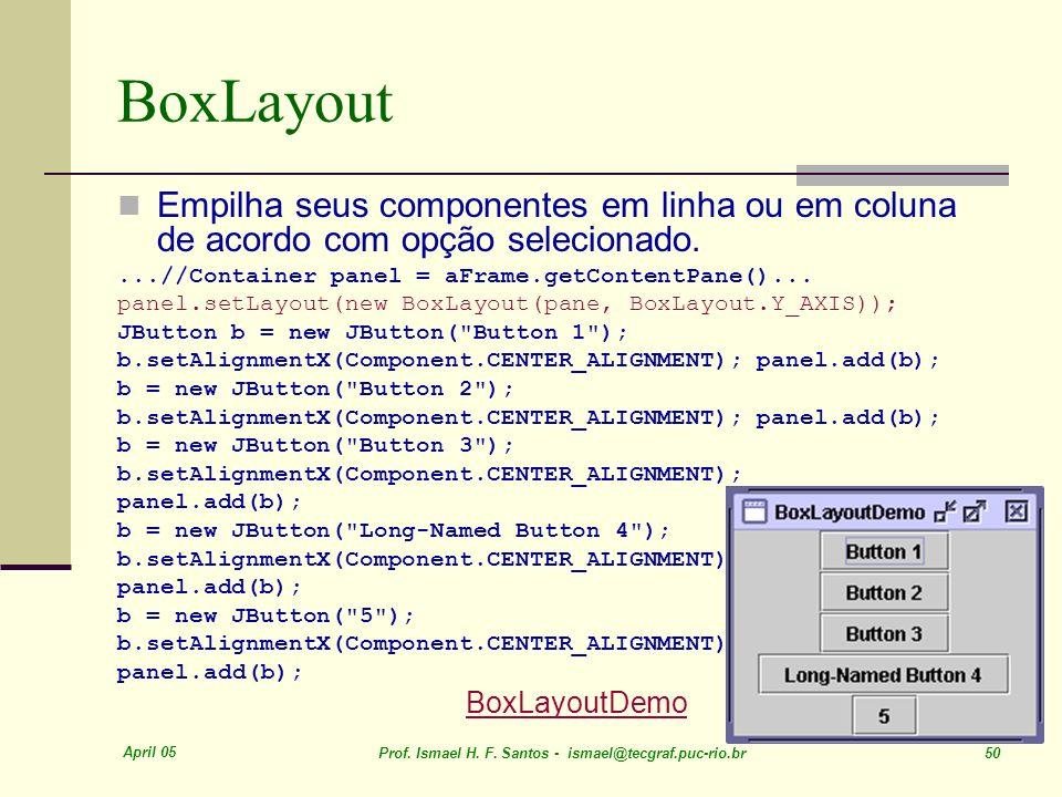 BoxLayout Empilha seus componentes em linha ou em coluna de acordo com opção selecionado. ...//Container panel = aFrame.getContentPane()...