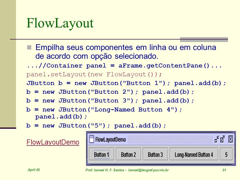 FlowLayout Empilha seus componentes em linha ou em coluna de acordo com opção selecionado. ...//Container panel = aFrame.getContentPane()...