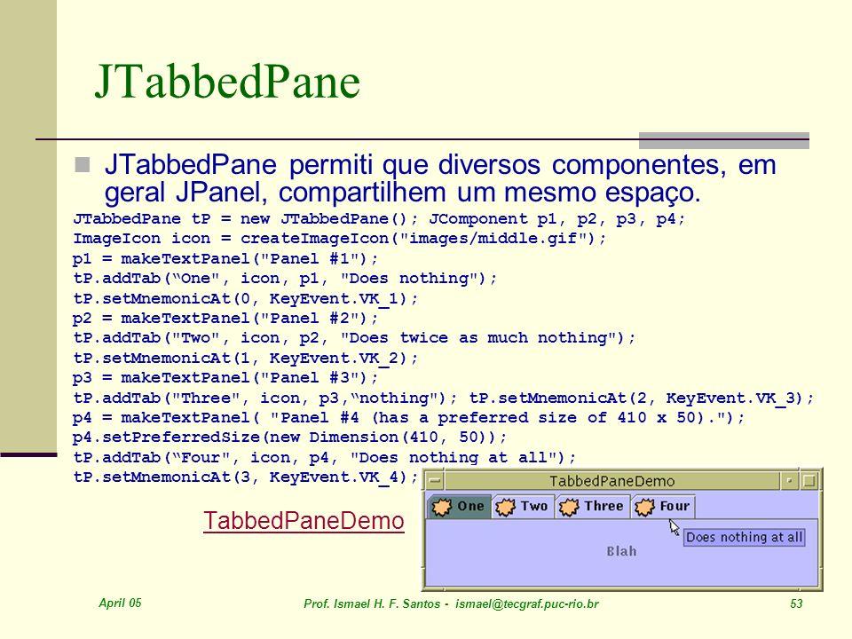 JTabbedPane JTabbedPane permiti que diversos componentes, em geral JPanel, compartilhem um mesmo espaço.