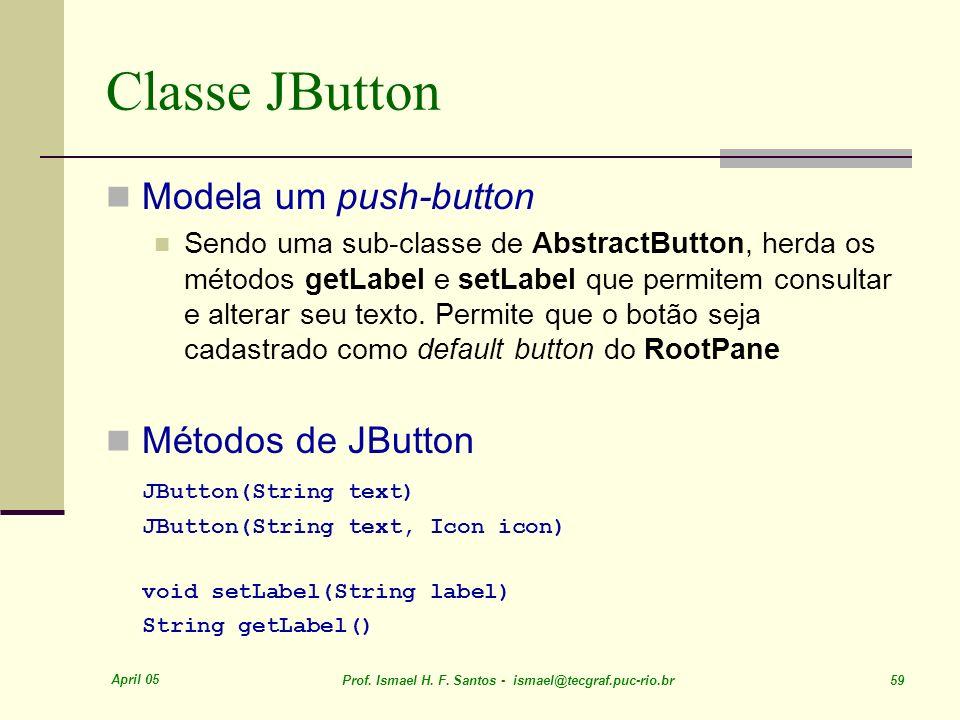 Classe JButton Modela um push-button Métodos de JButton