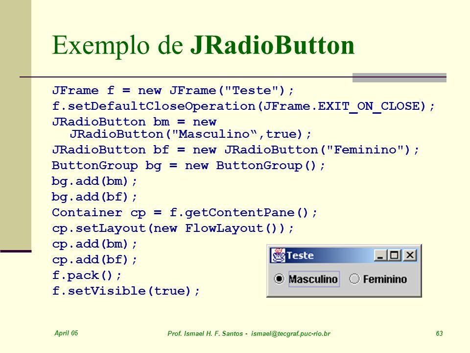 Exemplo de JRadioButton