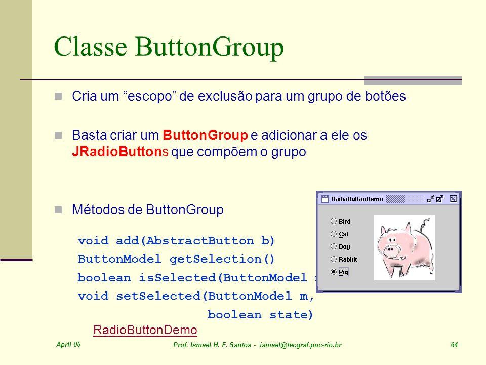 Classe ButtonGroup Cria um escopo de exclusão para um grupo de botões.