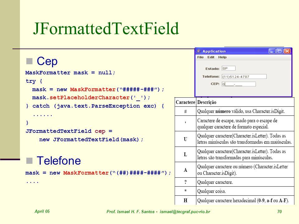JFormattedTextField Cep Telefone MaskFormatter mask = null; try {