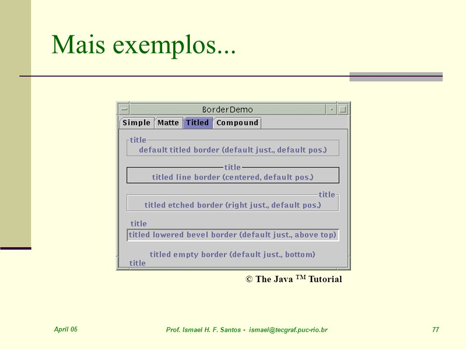 Mais exemplos... © The Java TM Tutorial April 05