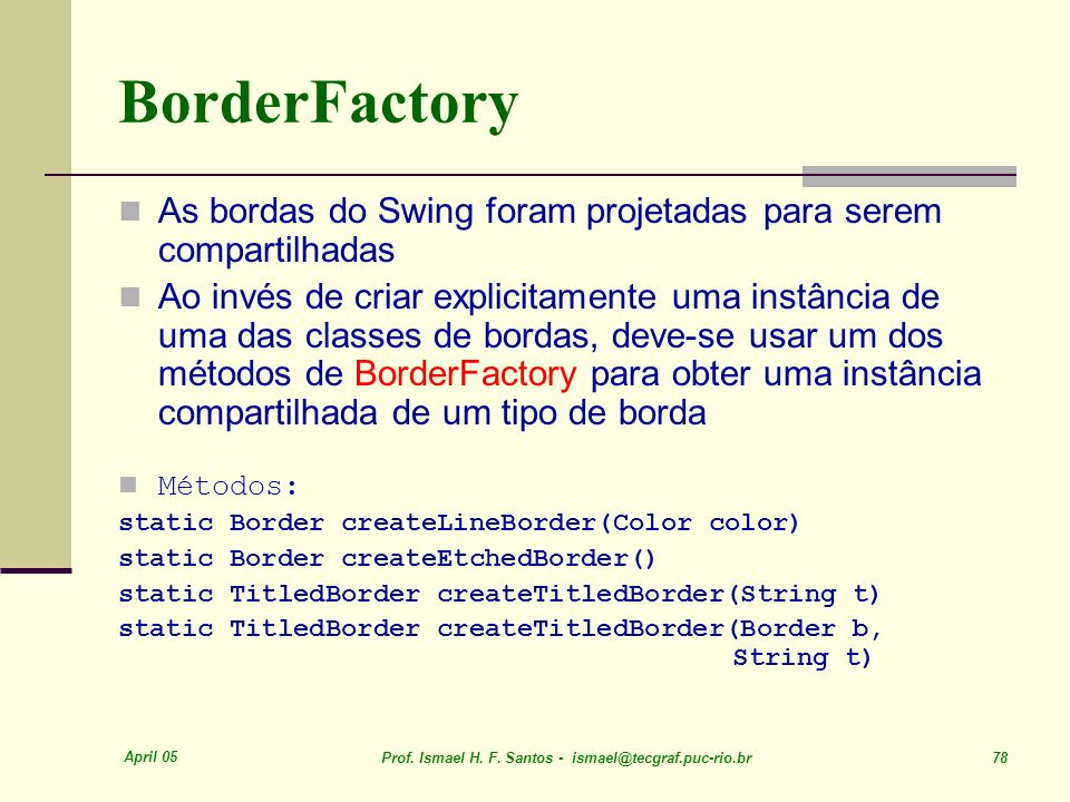 BorderFactory As bordas do Swing foram projetadas para serem compartilhadas.