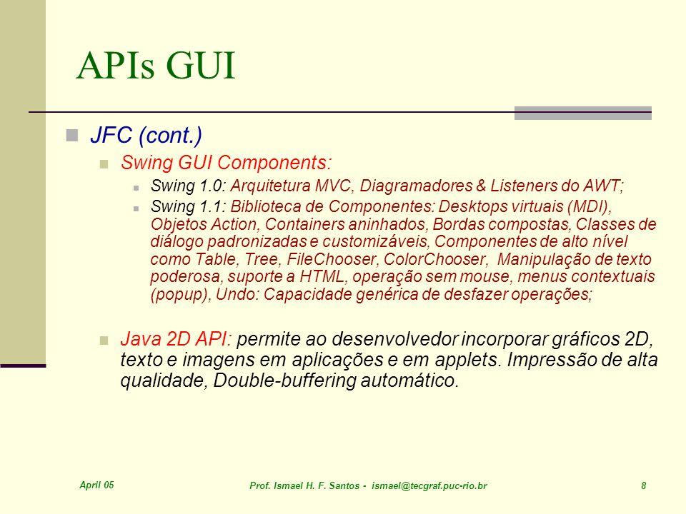 APIs GUI JFC (cont.) Swing GUI Components: