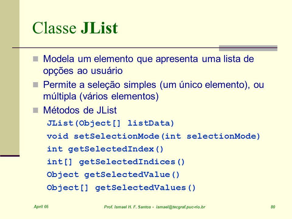 Classe JList Modela um elemento que apresenta uma lista de opções ao usuário.