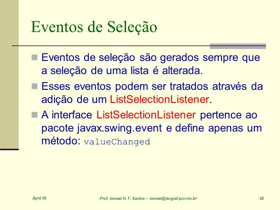 Eventos de Seleção Eventos de seleção são gerados sempre que a seleção de uma lista é alterada.