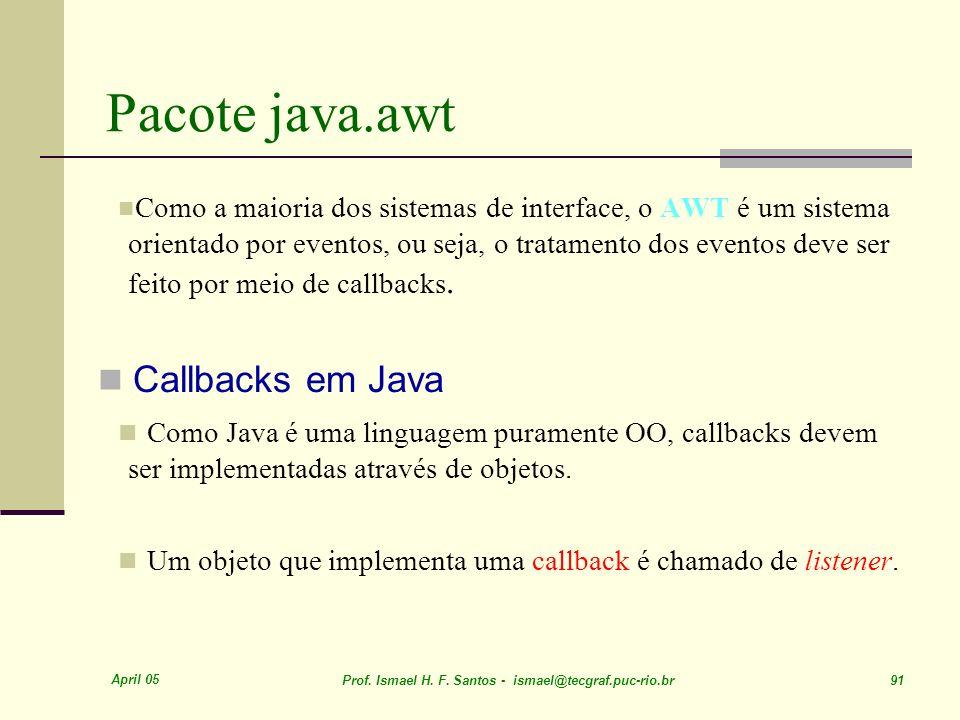 Pacote java.awt Callbacks em Java