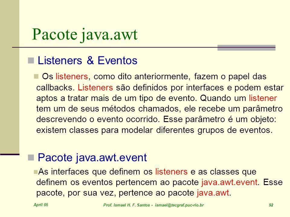 Pacote java.awt Listeners & Eventos Pacote java.awt.event