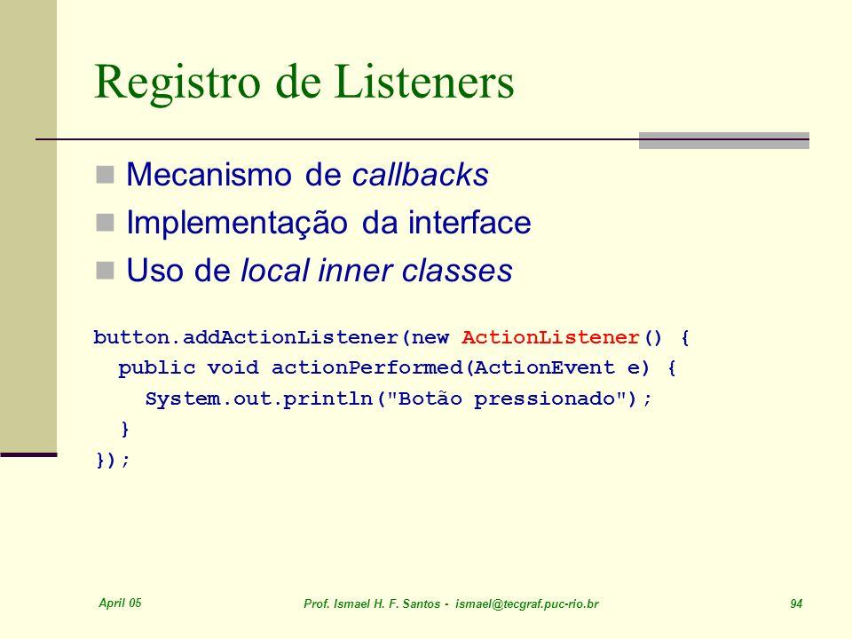 Registro de Listeners Mecanismo de callbacks
