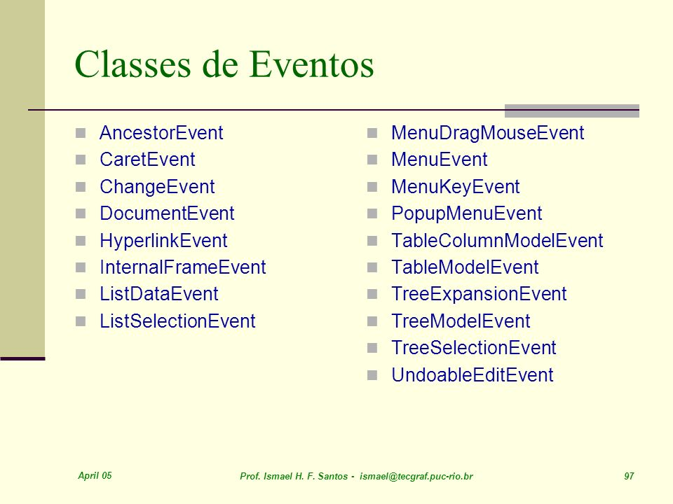 Classes de Eventos AncestorEvent CaretEvent ChangeEvent DocumentEvent