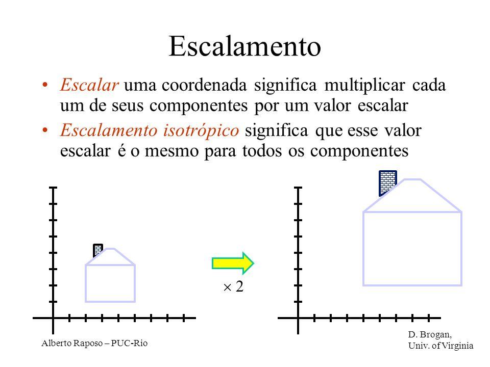Escalamento Escalar uma coordenada significa multiplicar cada um de seus componentes por um valor escalar.