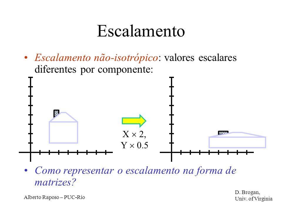 Escalamento Escalamento não-isotrópico: valores escalares diferentes por componente: Como representar o escalamento na forma de matrizes
