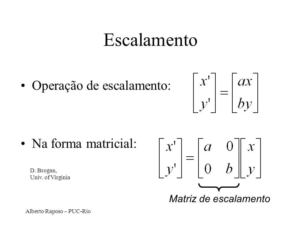 Escalamento Operação de escalamento: Na forma matricial: