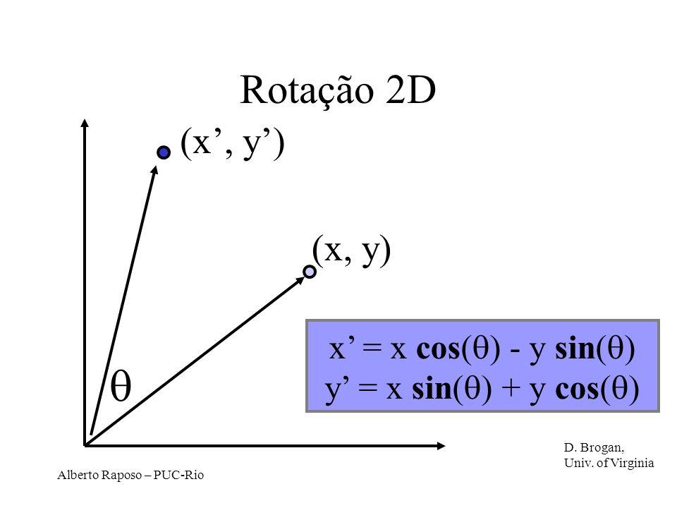  Rotação 2D (x', y') (x, y) x' = x cos() - y sin()