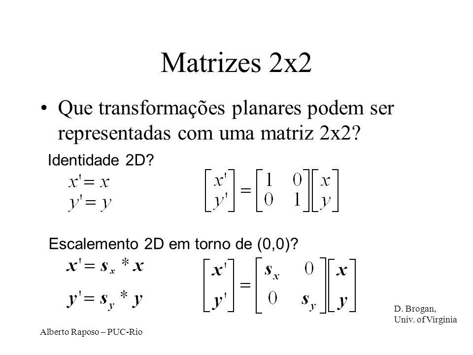 Matrizes 2x2 Que transformações planares podem ser representadas com uma matriz 2x2 Identidade 2D