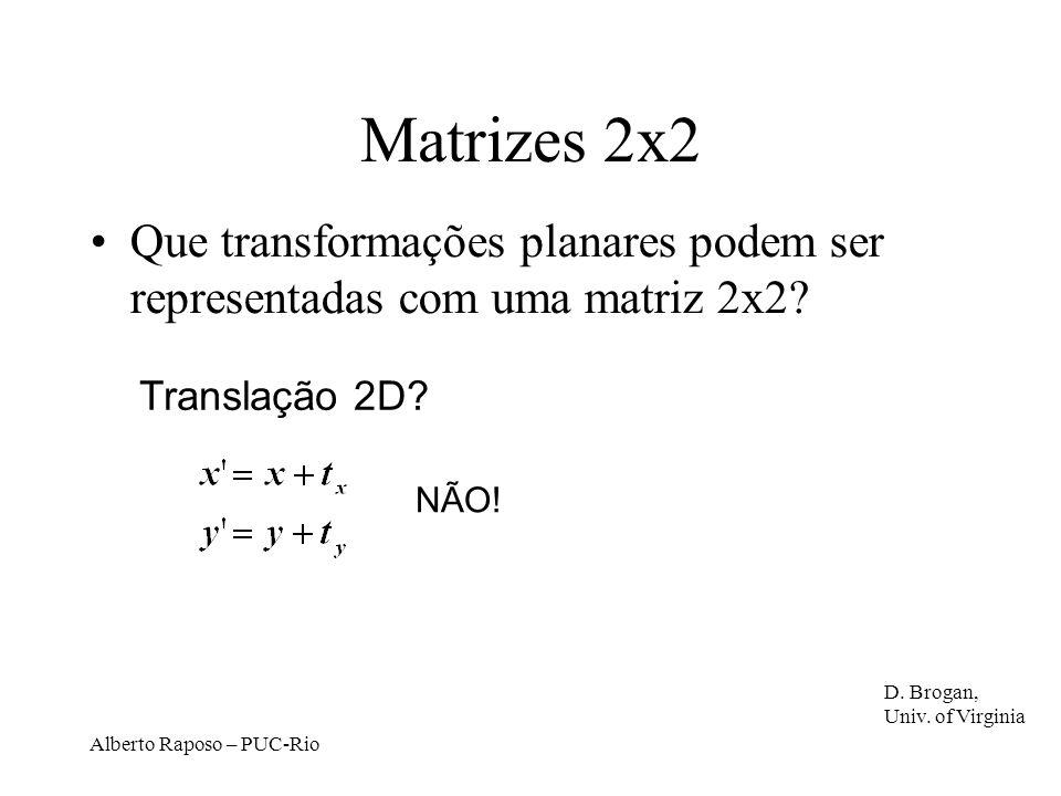 Matrizes 2x2 Que transformações planares podem ser representadas com uma matriz 2x2 Translação 2D