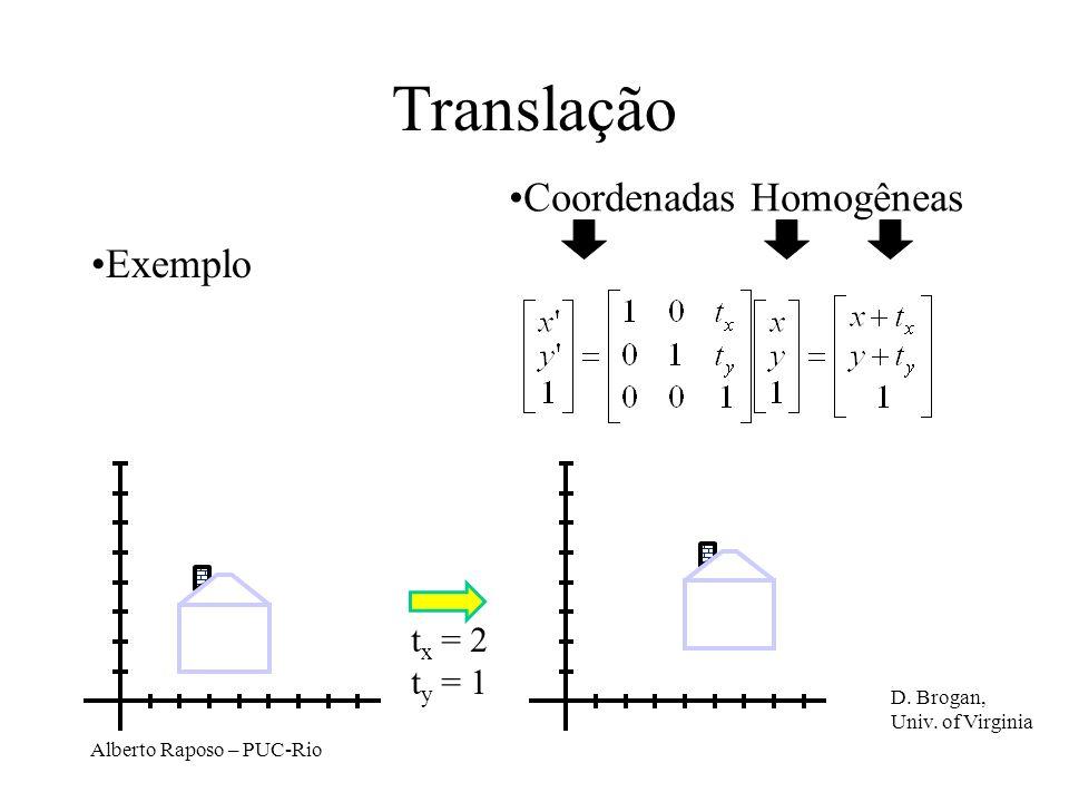 Translação Coordenadas Homogêneas Exemplo tx = 2 ty = 1