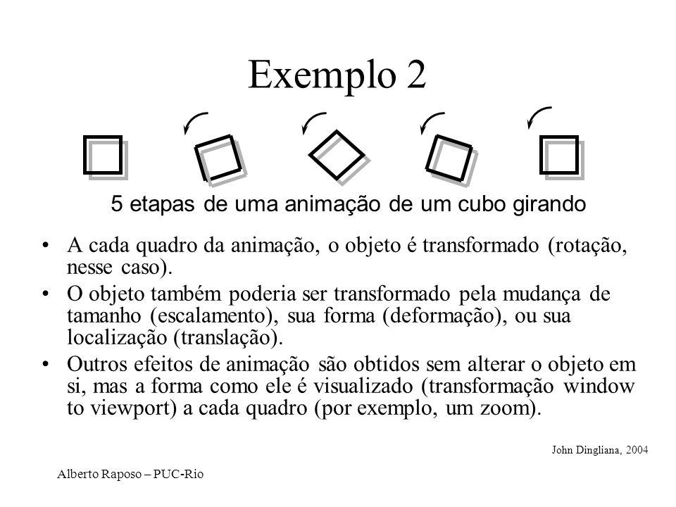 Exemplo 2 5 etapas de uma animação de um cubo girando