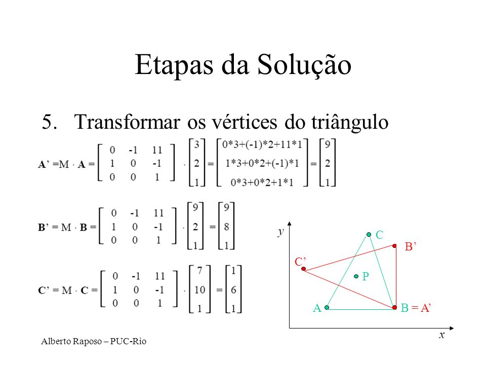 Etapas da Solução Transformar os vértices do triângulo y C B' = A' C'