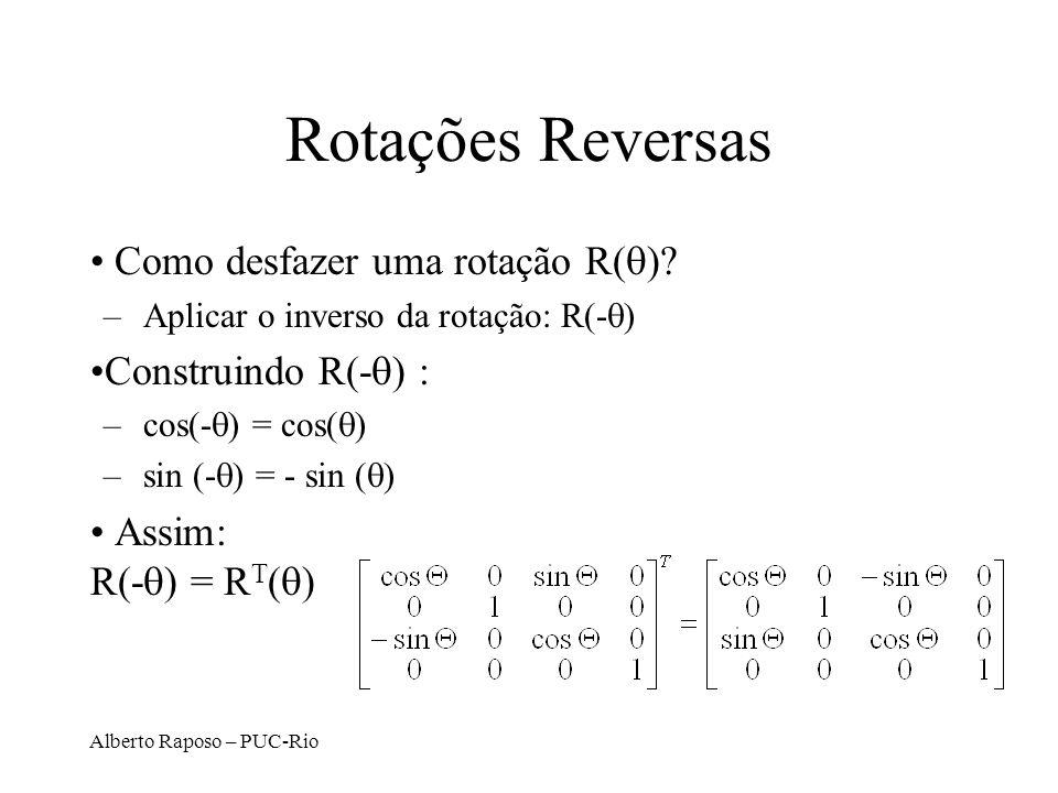 Rotações Reversas Como desfazer uma rotação R(q) Construindo R(-q) :