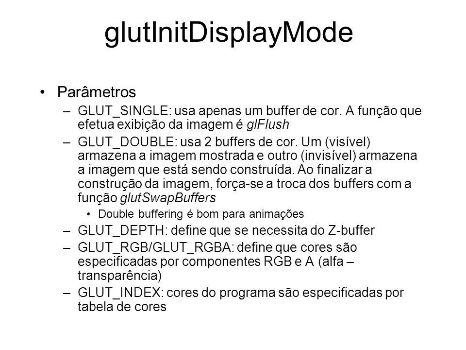 glutInitDisplayMode Parâmetros