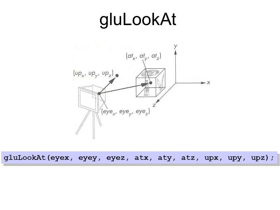 gluLookAt(eyex, eyey, eyez, atx, aty, atz, upx, upy, upz);