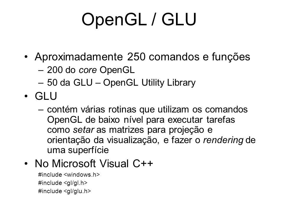 OpenGL / GLU Aproximadamente 250 comandos e funções GLU
