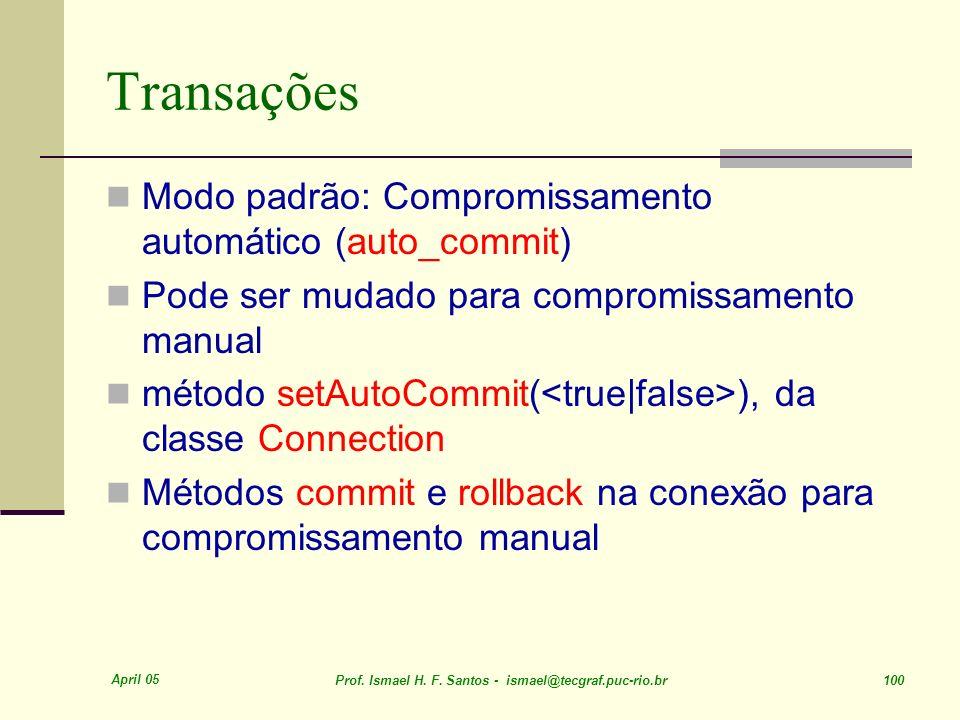 Transações Modo padrão: Compromissamento automático (auto_commit)