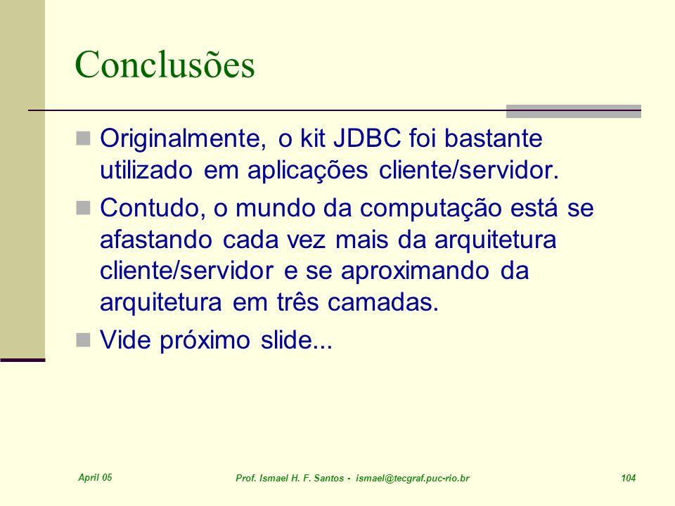 Conclusões Originalmente, o kit JDBC foi bastante utilizado em aplicações cliente/servidor.