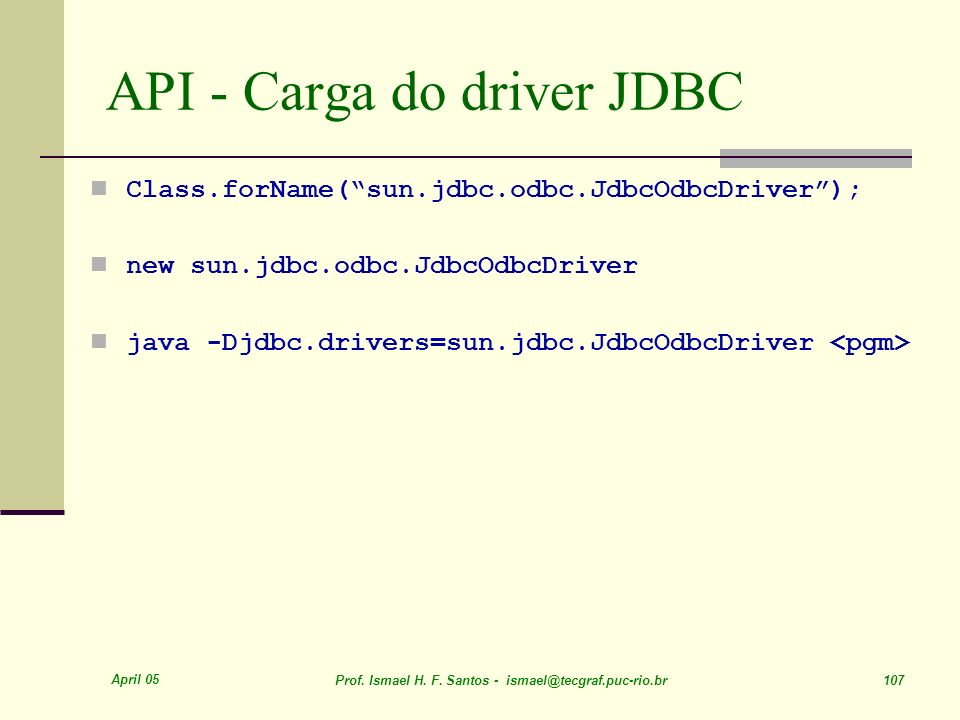 API - Carga do driver JDBC