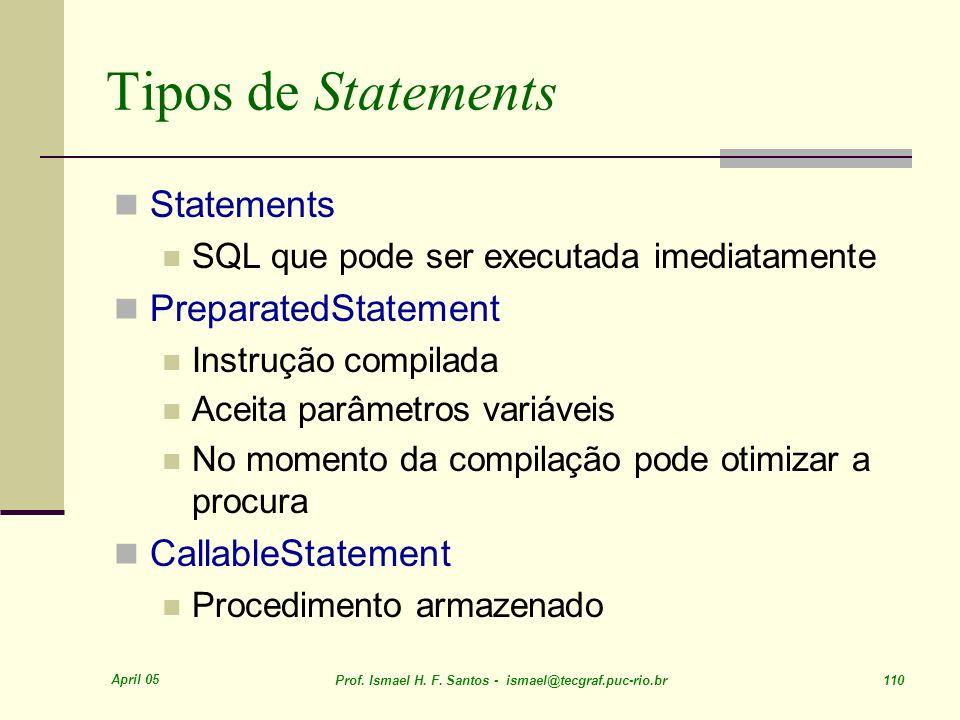 Tipos de Statements Statements PreparatedStatement CallableStatement