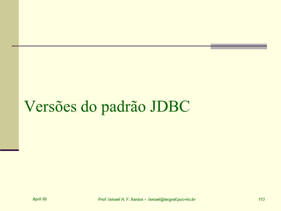Versões do padrão JDBC April 05