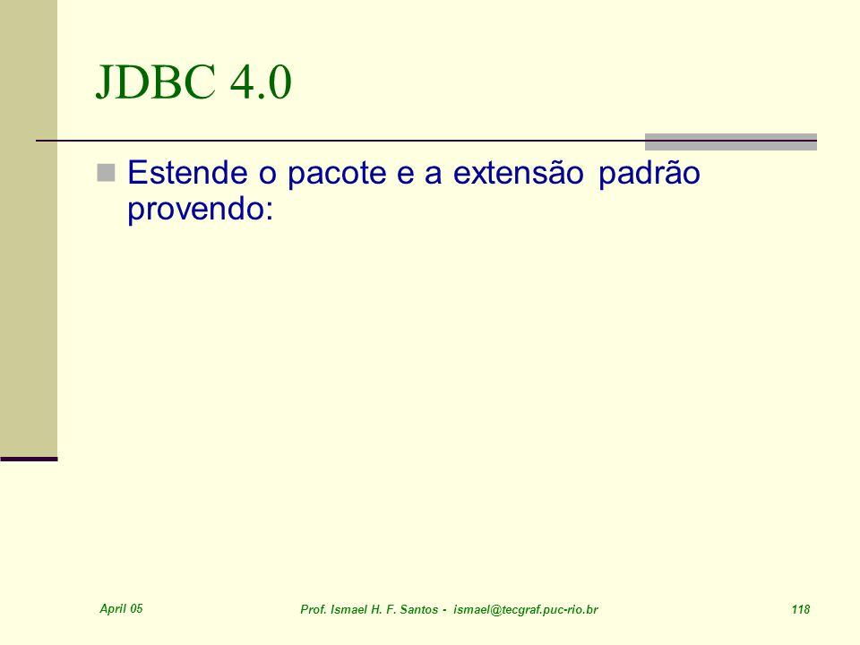 JDBC 4.0 Estende o pacote e a extensão padrão provendo: April 05