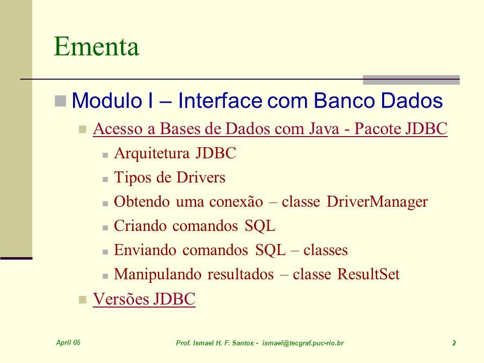 Ementa Modulo I – Interface com Banco Dados
