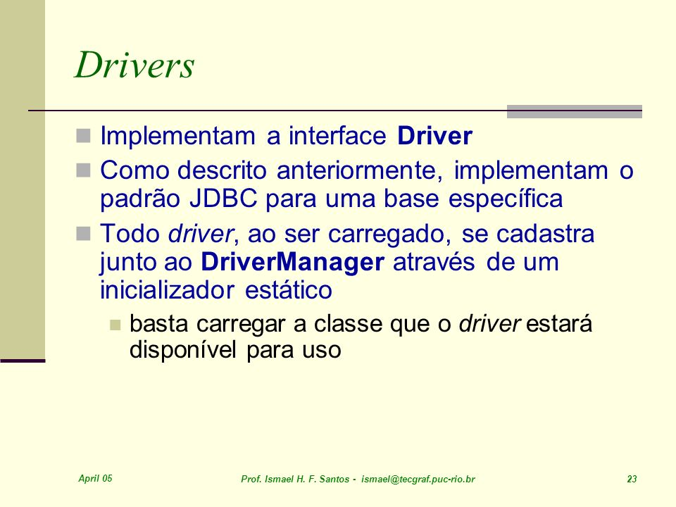 Drivers Implementam a interface Driver