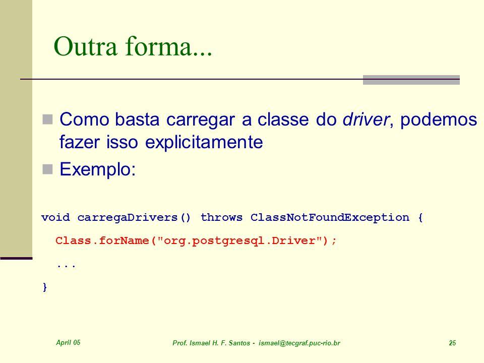Outra forma...Como basta carregar a classe do driver, podemos fazer isso explicitamente. Exemplo: