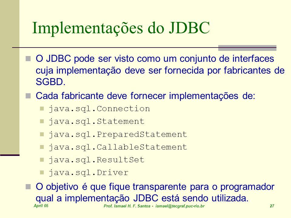 Implementações do JDBC