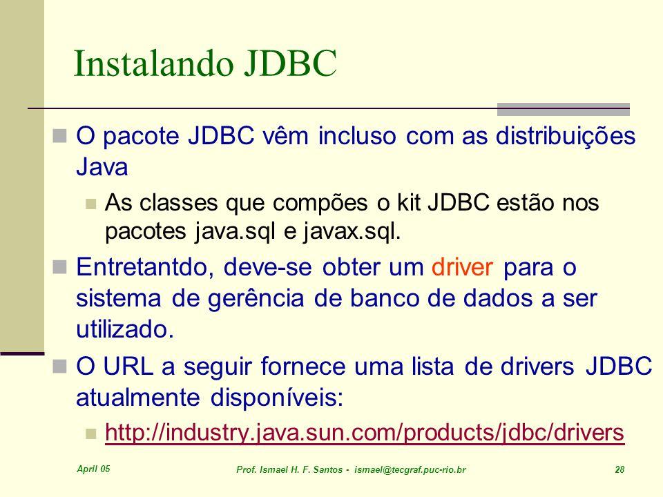 Instalando JDBC O pacote JDBC vêm incluso com as distribuições Java