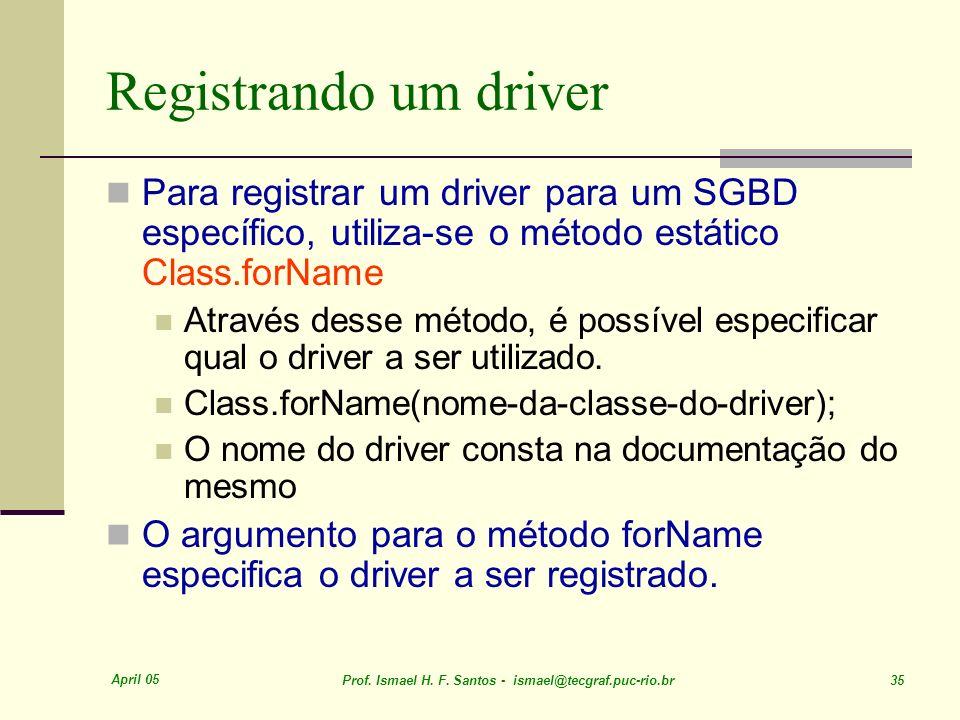 Registrando um driver Para registrar um driver para um SGBD específico, utiliza-se o método estático Class.forName.