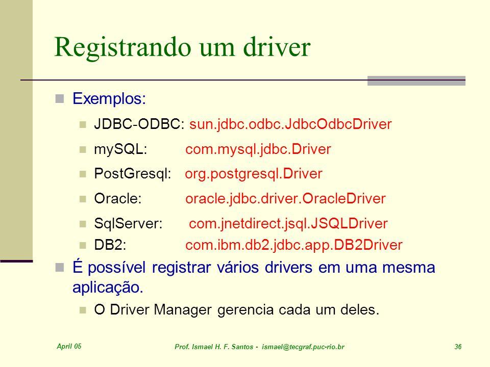 Registrando um driver Exemplos:
